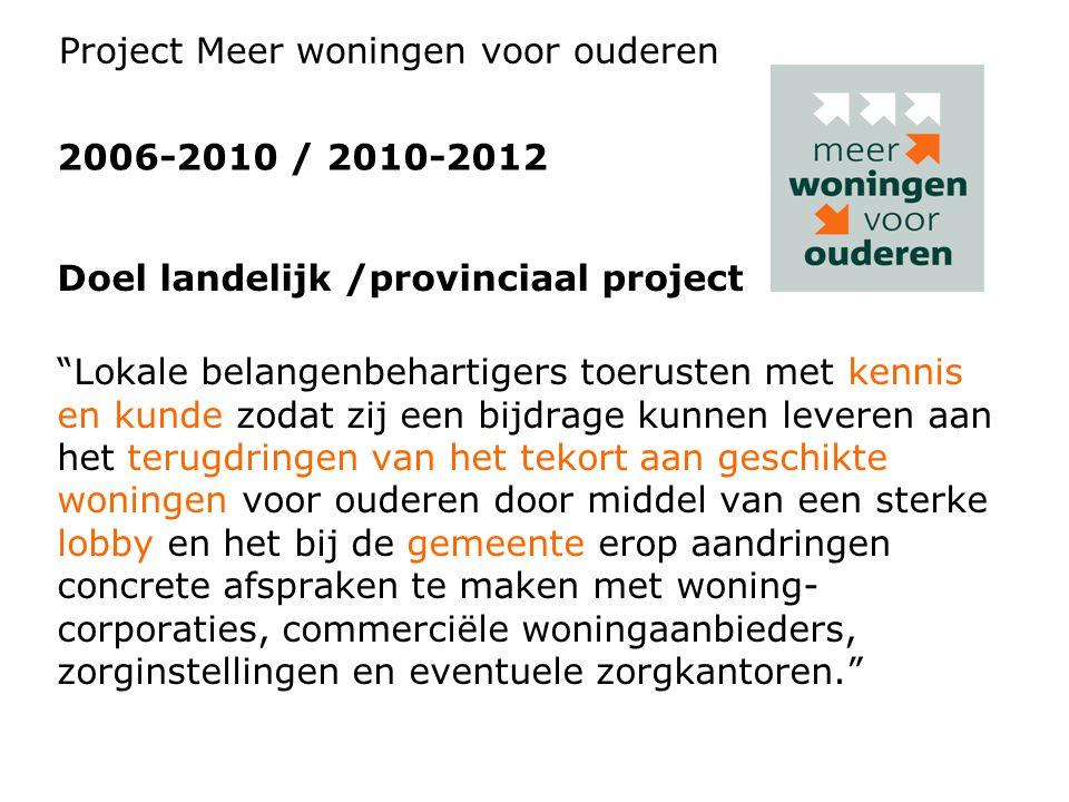 """Doel landelijk /provinciaal project """"Lokale belangenbehartigers toerusten met kennis en kunde zodat zij een bijdrage kunnen leveren aan het terugdring"""