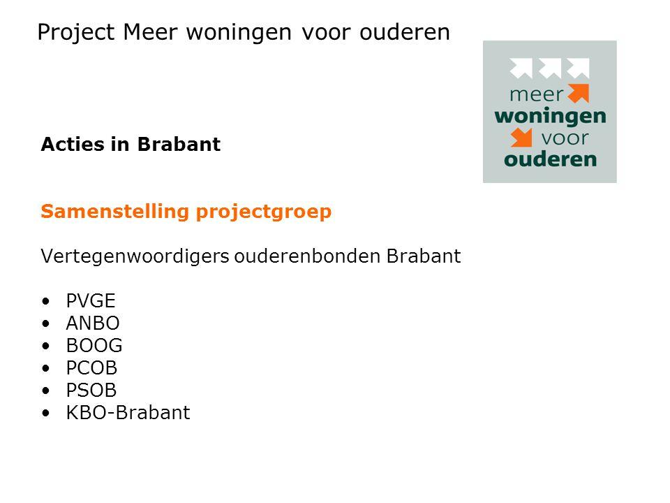 Acties in Brabant Samenstelling projectgroep Vertegenwoordigers ouderenbonden Brabant PVGE ANBO BOOG PCOB PSOB KBO-Brabant Project Meer woningen voor ouderen