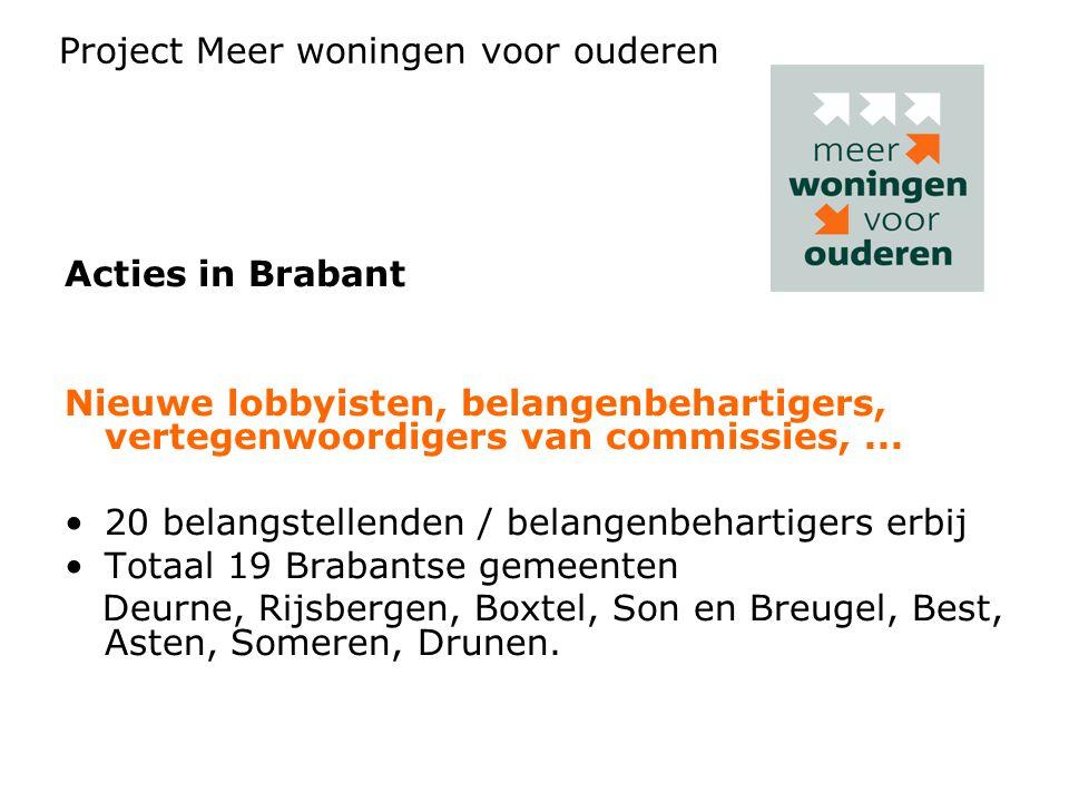 Acties in Brabant Nieuwe lobbyisten, belangenbehartigers, vertegenwoordigers van commissies,... 20 belangstellenden / belangenbehartigers erbij Totaal