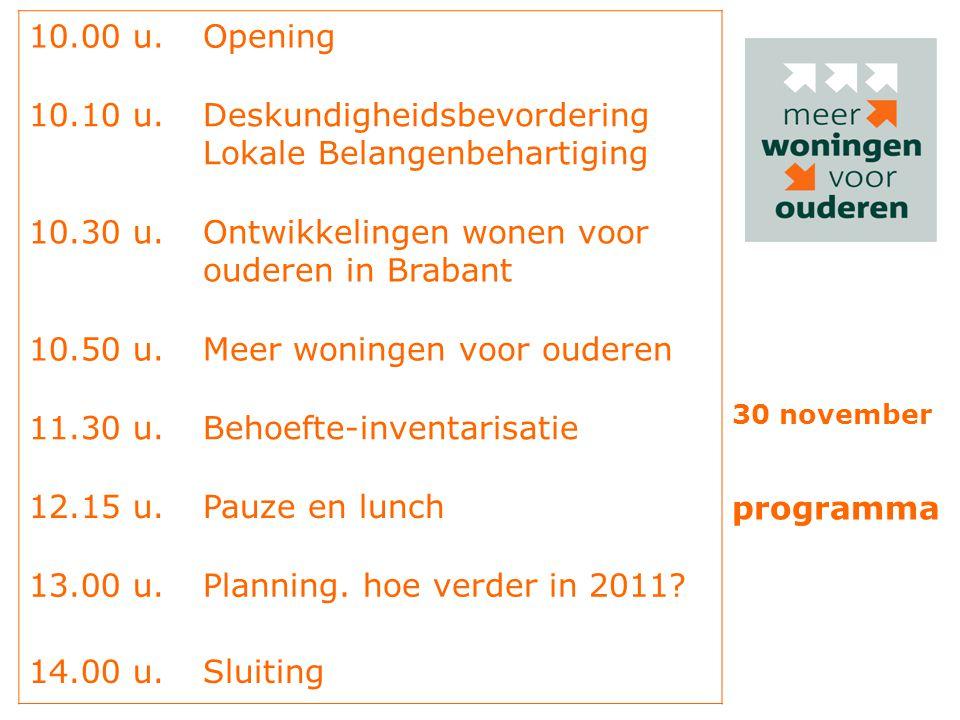 10.00 u.Opening 10.10 u.Deskundigheidsbevordering Lokale Belangenbehartiging 10.30 u.Ontwikkelingen wonen voor ouderen in Brabant 10.50 u.Meer woninge