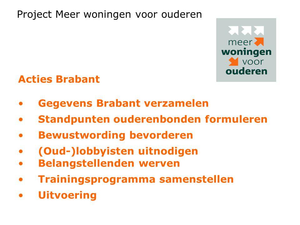 Acties Brabant Gegevens Brabant verzamelen Standpunten ouderenbonden formuleren Bewustwording bevorderen (Oud-)lobbyisten uitnodigen Belangstellenden werven Trainingsprogramma samenstellen Uitvoering Ondersteunt en versterkt live netwerkbijeenkomsten.