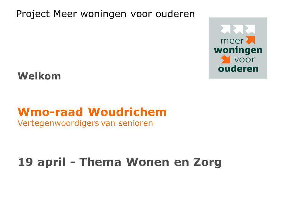 Project Meer woningen voor ouderen Welkom Wmo-raad Woudrichem Vertegenwoordigers van senioren 19 april - Thema Wonen en Zorg
