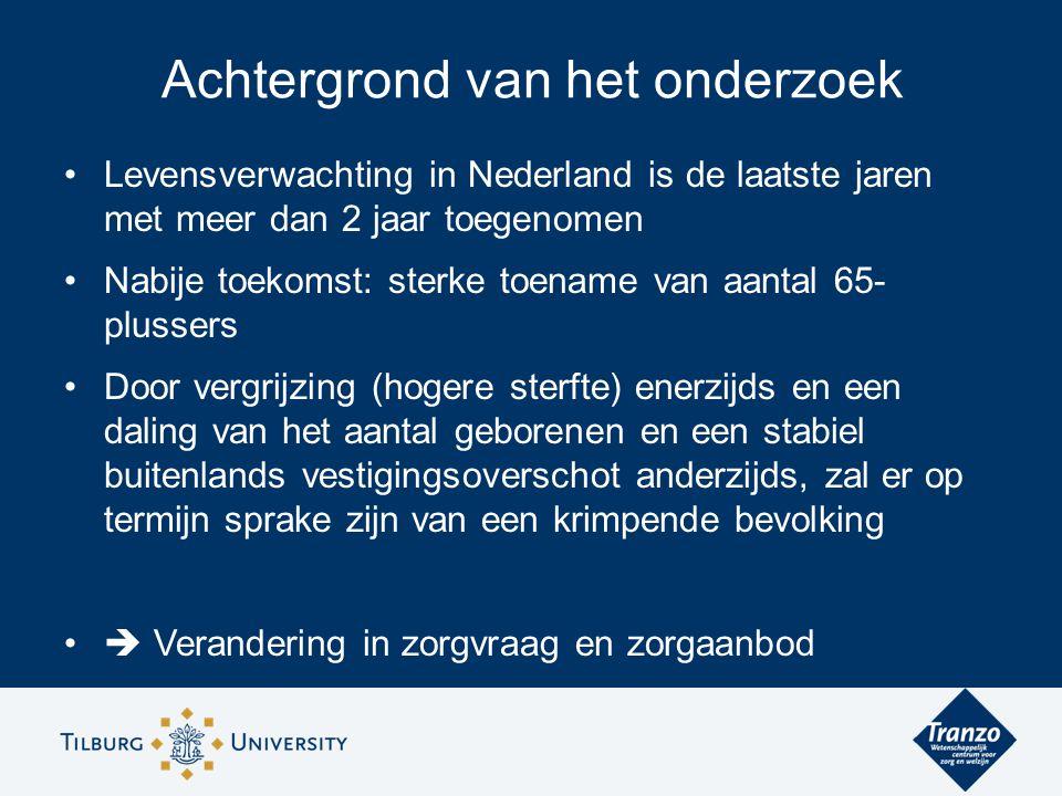 Levensverwachting in Nederland is de laatste jaren met meer dan 2 jaar toegenomen Nabije toekomst: sterke toename van aantal 65- plussers Door vergrijzing (hogere sterfte) enerzijds en een daling van het aantal geborenen en een stabiel buitenlands vestigingsoverschot anderzijds, zal er op termijn sprake zijn van een krimpende bevolking  Verandering in zorgvraag en zorgaanbod Achtergrond van het onderzoek