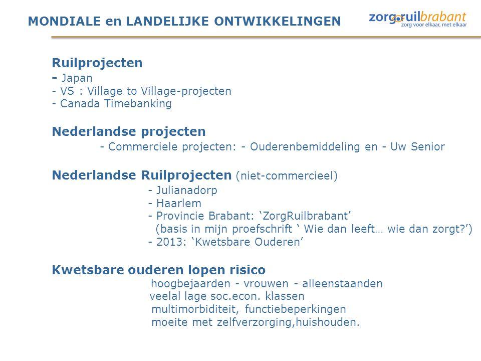 MONDIALE en LANDELIJKE ONTWIKKELINGEN Ruilprojecten - Japan - VS : Village to Village-projecten - Canada Timebanking Nederlandse projecten - Commerciele projecten: - Ouderenbemiddeling en - Uw Senior Nederlandse Ruilprojecten (niet-commercieel) - Julianadorp - Haarlem - Provincie Brabant: 'ZorgRuilbrabant' (basis in mijn proefschrift ' Wie dan leeft… wie dan zorgt ') - 2013: 'Kwetsbare Ouderen' Kwetsbare ouderen lopen risico hoogbejaarden - vrouwen - alleenstaanden veelal lage soc.econ.