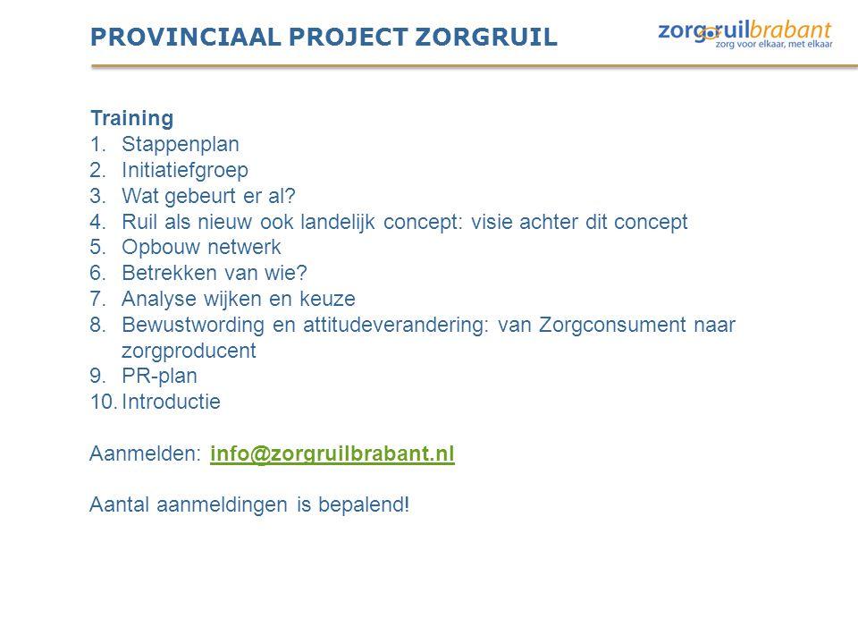 PROVINCIAAL PROJECT ZORGRUIL Training 1.Stappenplan 2.Initiatiefgroep 3.Wat gebeurt er al? 4.Ruil als nieuw ook landelijk concept: visie achter dit co