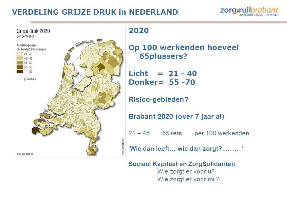 VERDELING GRIJZE DRUK in NEDERLAND 2020 Op 100 werkenden hoeveel 65plussers? Licht= 21 - 40 Donker= 55 -70 Risico-gebieden? Brabant 2020 (over 7 jaar