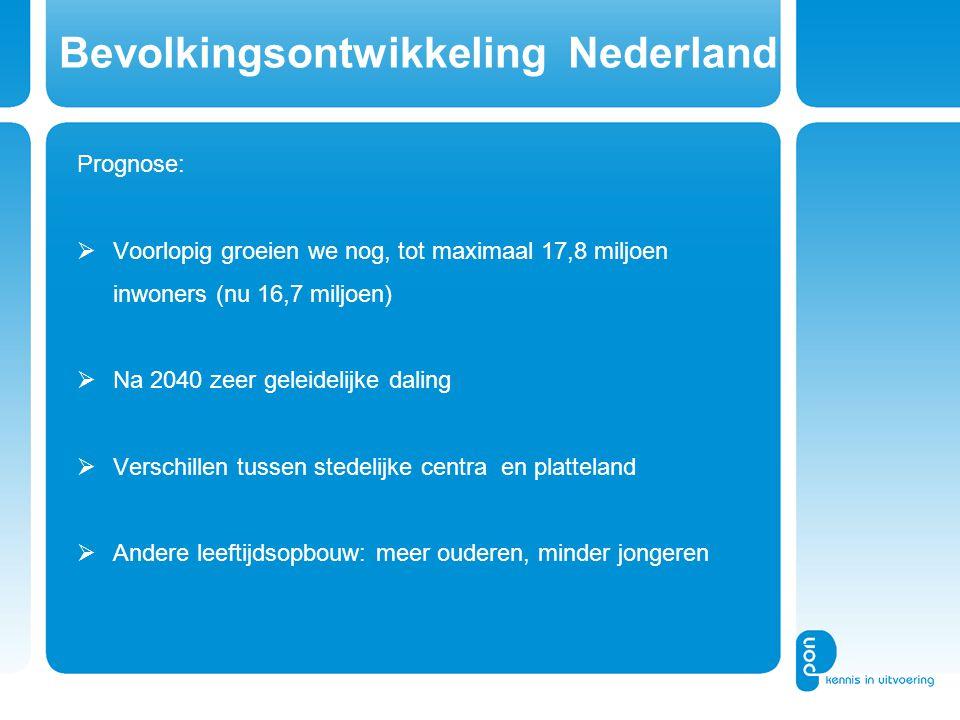 Bevolkingsontwikkeling Nederland Prognose:  Voorlopig groeien we nog, tot maximaal 17,8 miljoen inwoners (nu 16,7 miljoen)  Na 2040 zeer geleidelijke daling  Verschillen tussen stedelijke centra en platteland  Andere leeftijdsopbouw: meer ouderen, minder jongeren