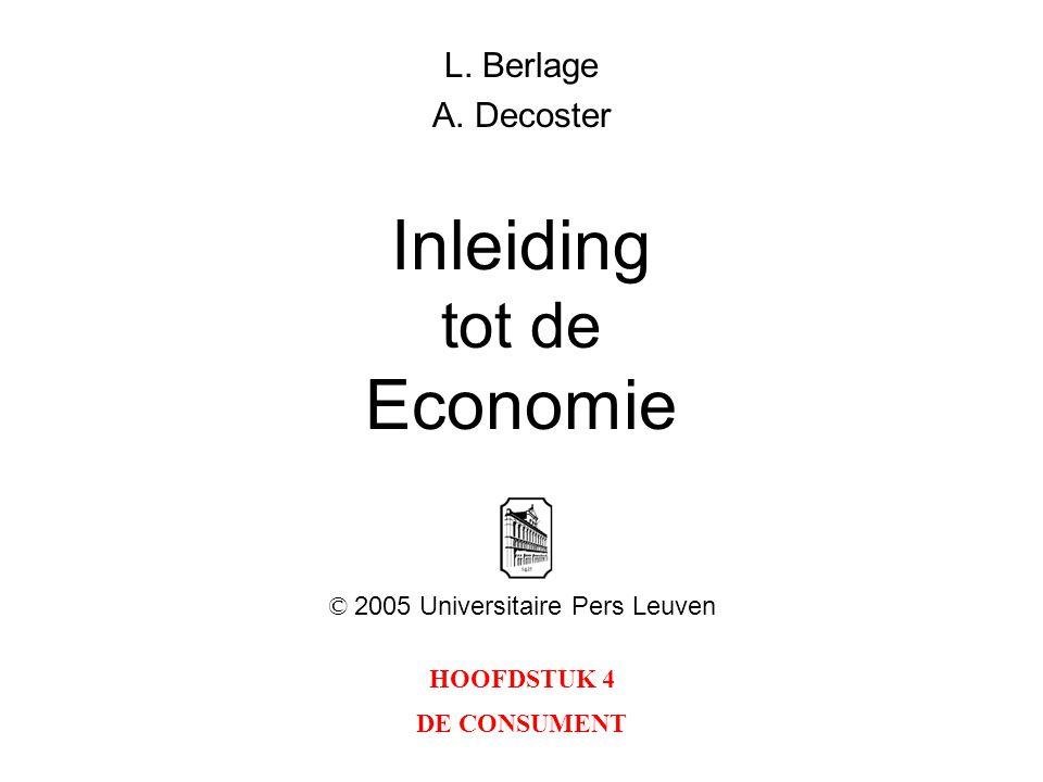 HOOFDSTUK 4 DE CONSUMENT L. Berlage A. Decoster Inleiding tot de Economie © 2005 Universitaire Pers Leuven