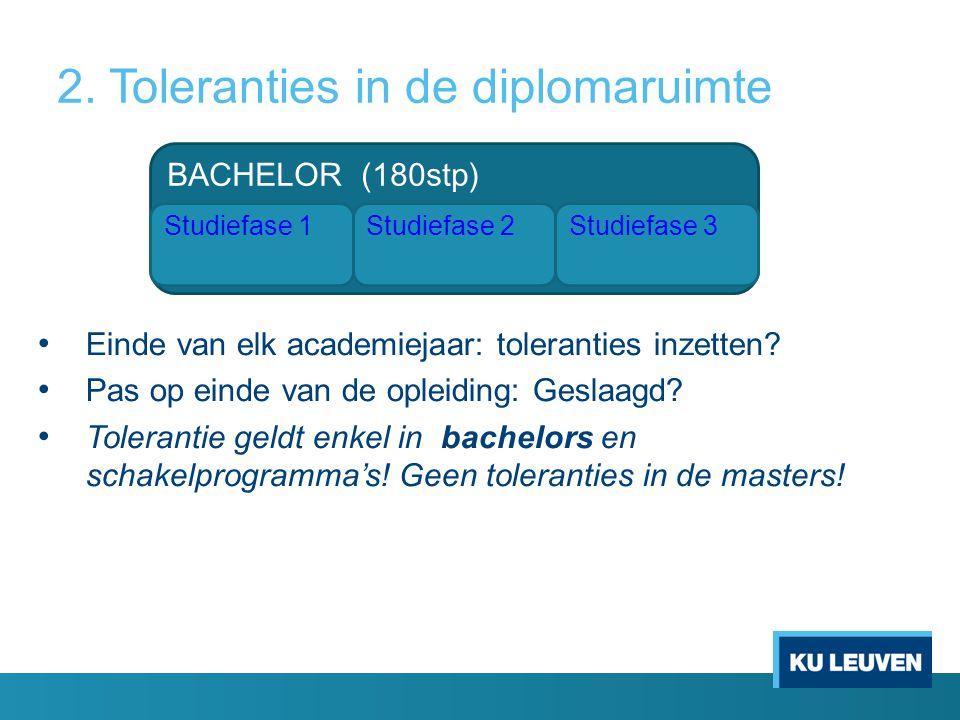 2. Toleranties in de diplomaruimte Einde van elk academiejaar: toleranties inzetten? Pas op einde van de opleiding: Geslaagd? Tolerantie geldt enkel i