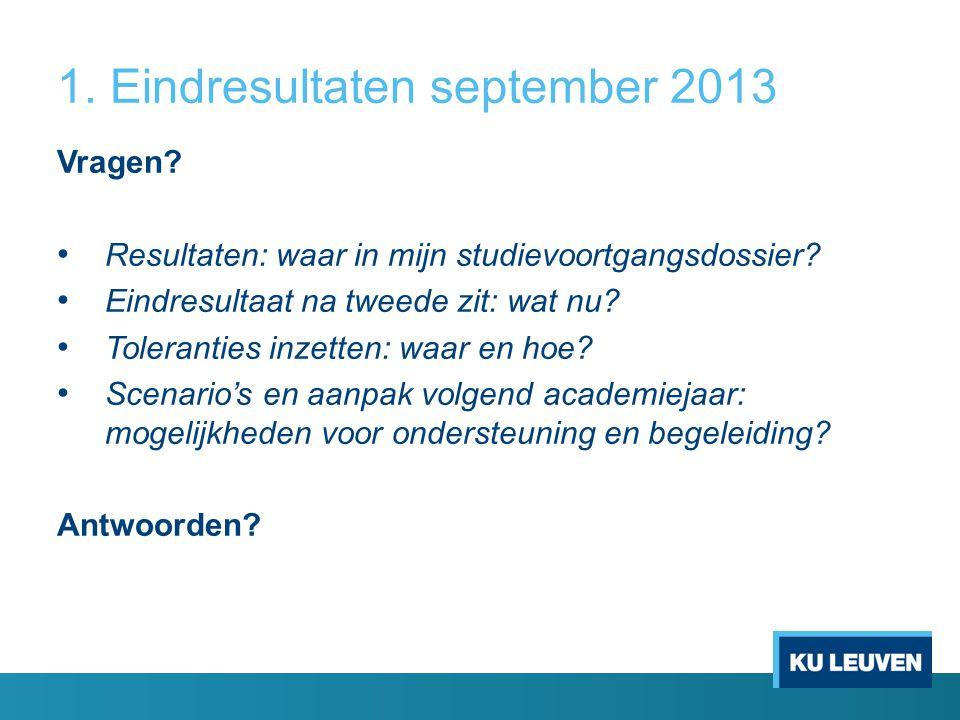 1. Eindresultaten september 2013 Vragen? Resultaten: waar in mijn studievoortgangsdossier? Eindresultaat na tweede zit: wat nu? Toleranties inzetten: