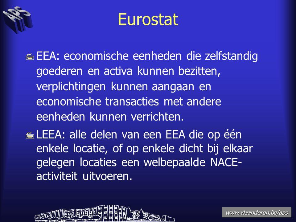 www.vlaanderen.be/aps Eurostat 7 EEA: economische eenheden die zelfstandig goederen en activa kunnen bezitten, verplichtingen kunnen aangaan en economische transacties met andere eenheden kunnen verrichten.