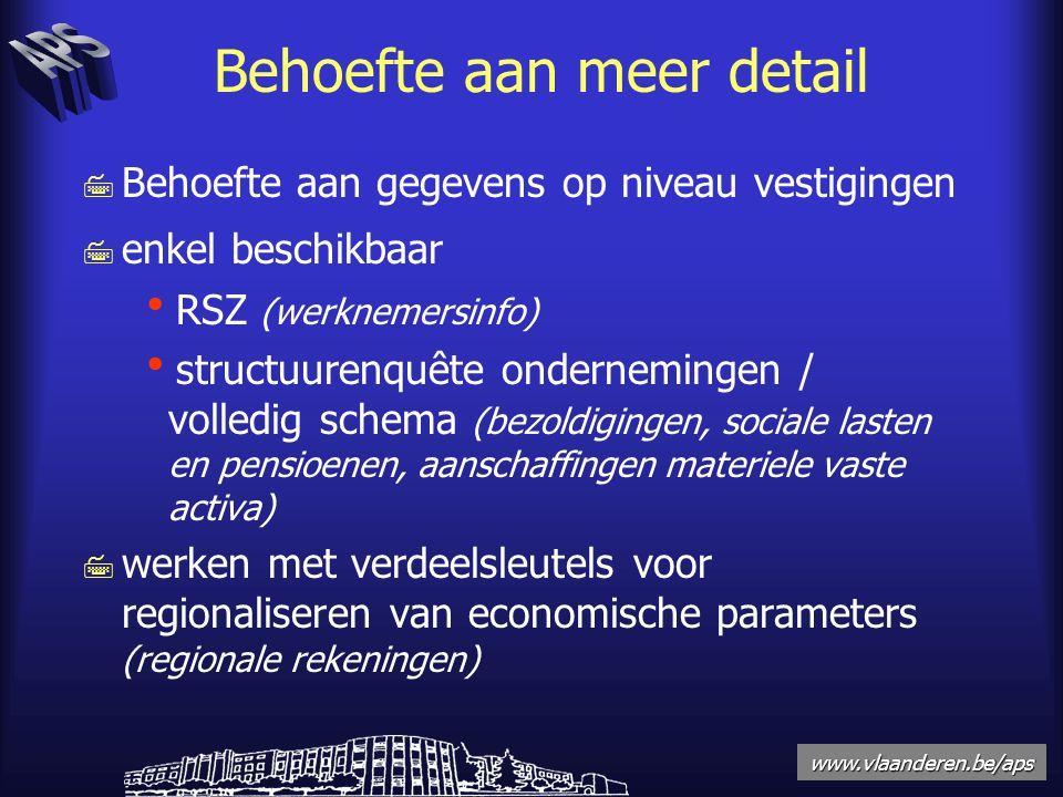 www.vlaanderen.be/aps Behoefte aan meer detail 7 Behoefte aan gegevens op niveau vestigingen 7 enkel beschikbaar  RSZ (werknemersinfo)  structuurenquête ondernemingen / volledig schema (bezoldigingen, sociale lasten en pensioenen, aanschaffingen materiele vaste activa) 7 werken met verdeelsleutels voor regionaliseren van economische parameters (regionale rekeningen)
