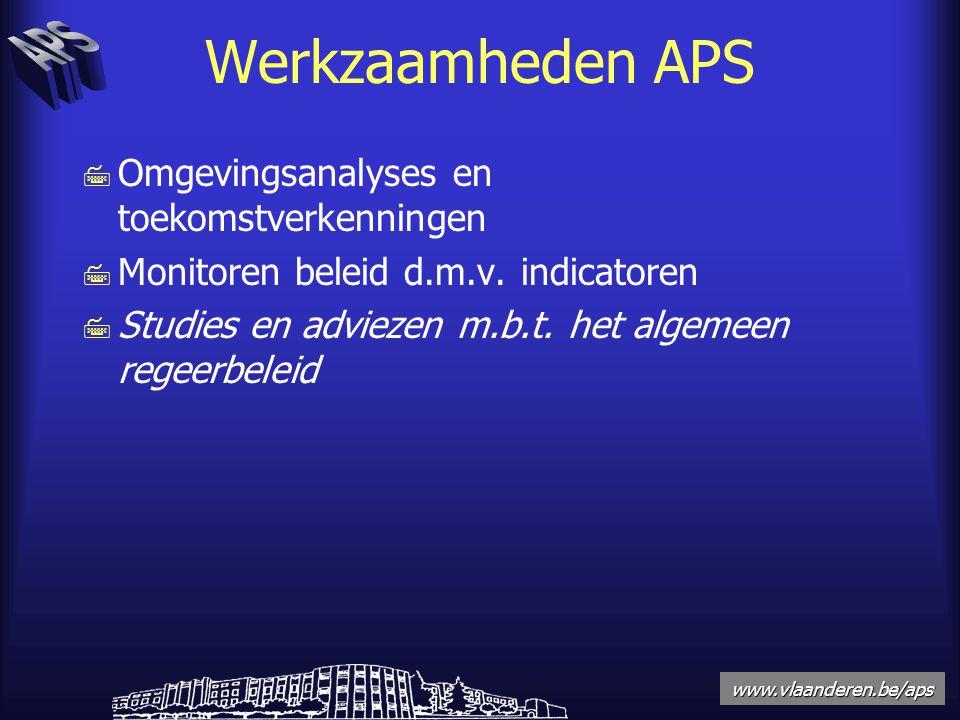 www.vlaanderen.be/aps Werkzaamheden APS 7 Omgevingsanalyses en toekomstverkenningen 7 Monitoren beleid d.m.v.