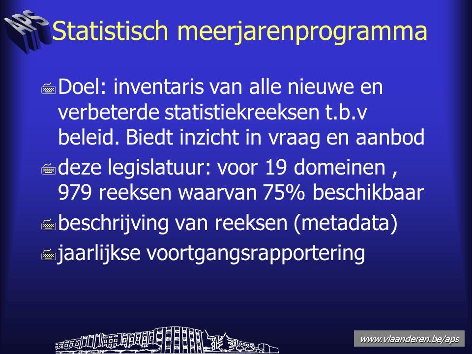 www.vlaanderen.be/aps Statistisch meerjarenprogramma 7 Doel: inventaris van alle nieuwe en verbeterde statistiekreeksen t.b.v beleid.