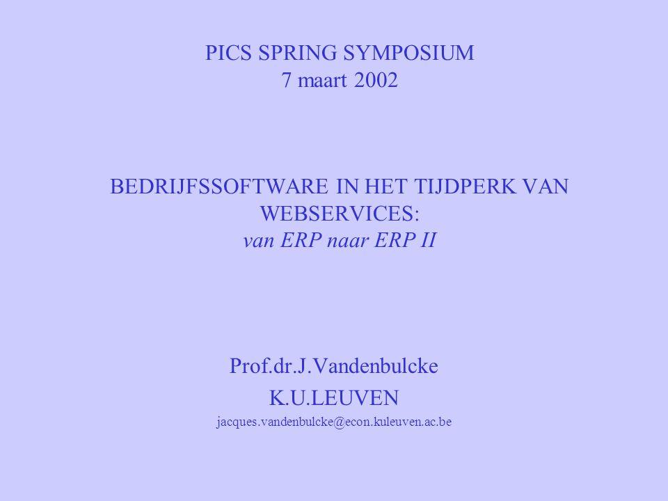 PICS SPRING SYMPOSIUM 7 maart 2002 BEDRIJFSSOFTWARE IN HET TIJDPERK VAN WEBSERVICES: van ERP naar ERP II Prof.dr.J.Vandenbulcke K.U.LEUVEN jacques.vandenbulcke@econ.kuleuven.ac.be