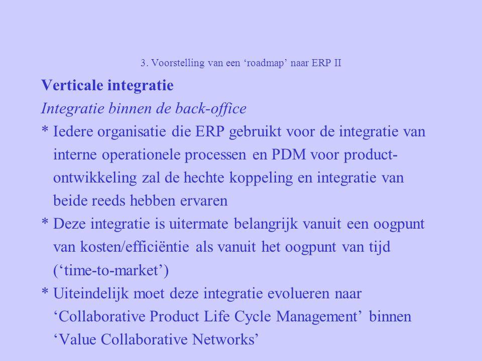 3. Voorstelling van een 'roadmap' naar ERP II Verticale integratie Integratie binnen de back-office * Iedere organisatie die ERP gebruikt voor de inte