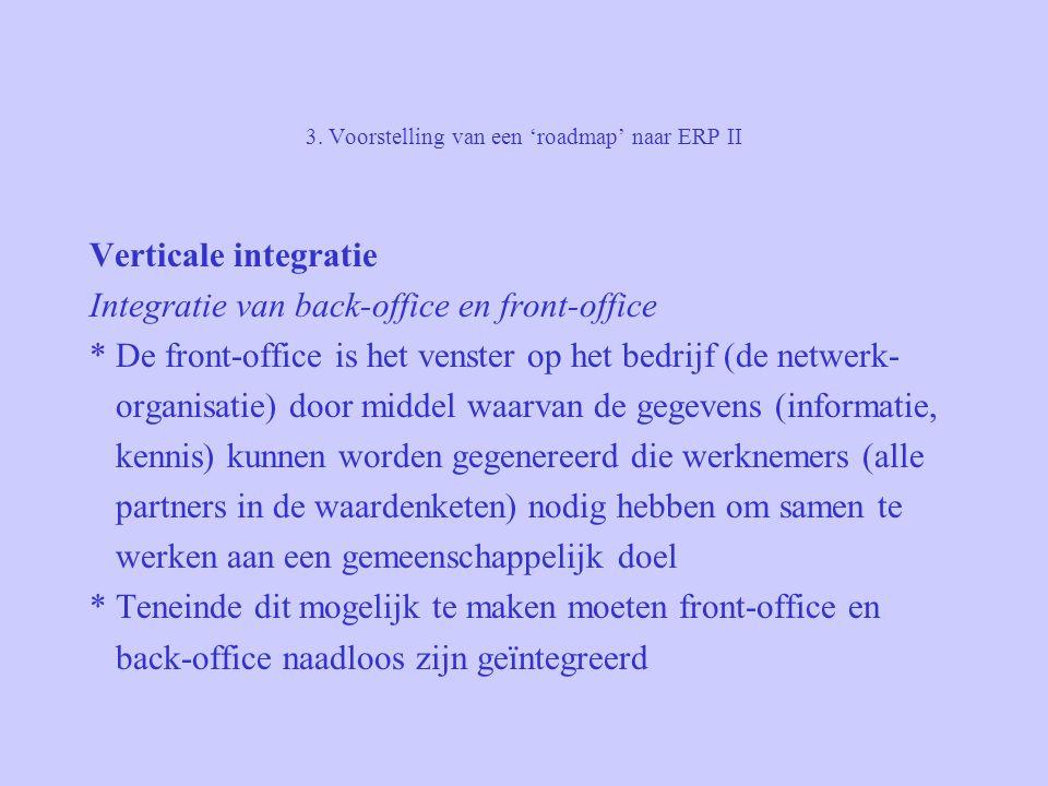 3. Voorstelling van een 'roadmap' naar ERP II Verticale integratie Integratie van back-office en front-office * De front-office is het venster op het