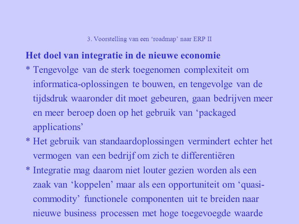 3. Voorstelling van een 'roadmap' naar ERP II Het doel van integratie in de nieuwe economie * Tengevolge van de sterk toegenomen complexiteit om infor