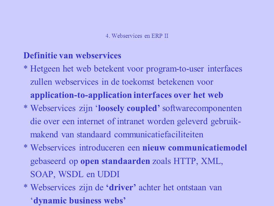 4. Webservices en ERP II Definitie van webservices * Hetgeen het web betekent voor program-to-user interfaces zullen webservices in de toekomst beteke