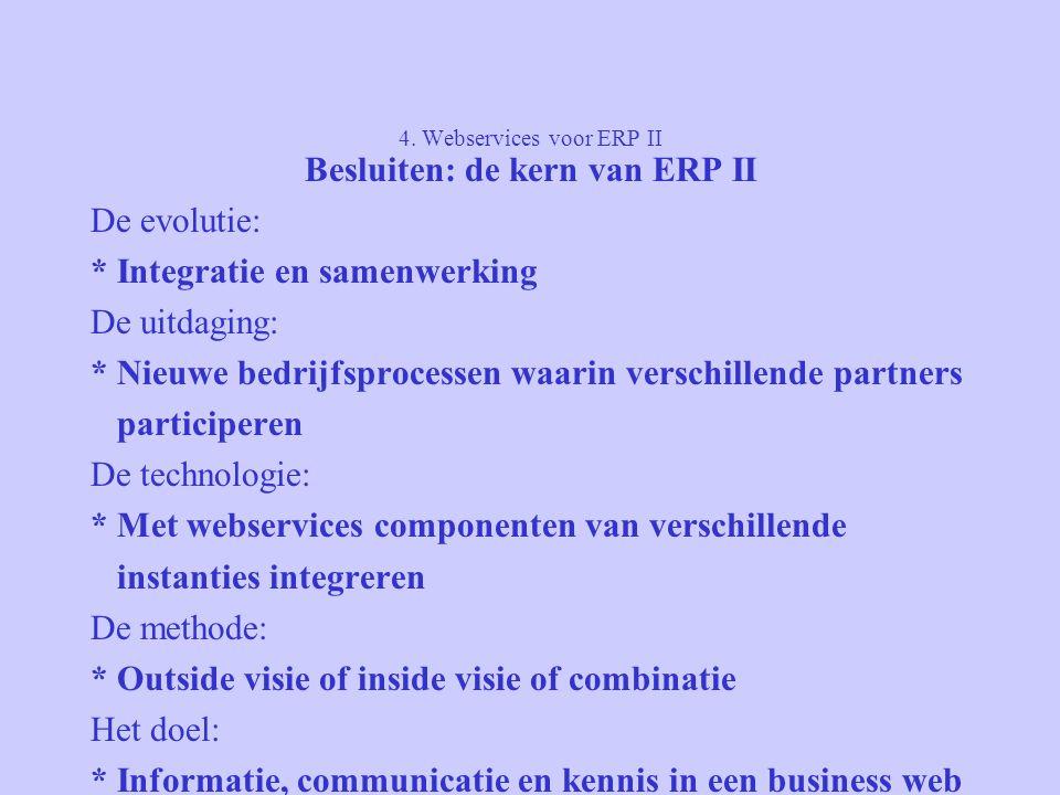 4. Webservices voor ERP II Besluiten: de kern van ERP II De evolutie: * Integratie en samenwerking De uitdaging: * Nieuwe bedrijfsprocessen waarin ver
