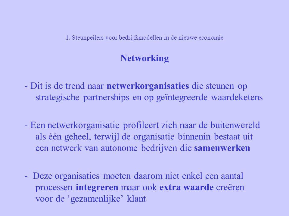 1. Steunpeilers voor bedrijfsmodellen in de nieuwe economie Networking - Dit is de trend naar netwerkorganisaties die steunen op strategische partners