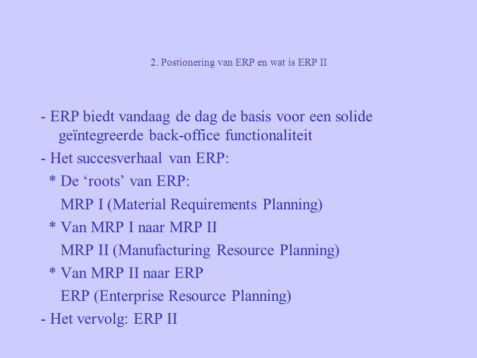 2. Postionering van ERP en wat is ERP II - ERP biedt vandaag de dag de basis voor een solide geïntegreerde back-office functionaliteit - Het succesver