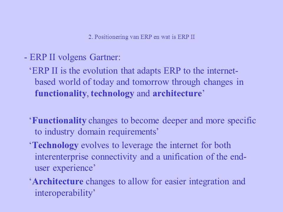 2. Positionering van ERP en wat is ERP II - ERP II volgens Gartner: 'ERP II is the evolution that adapts ERP to the internet- based world of today and