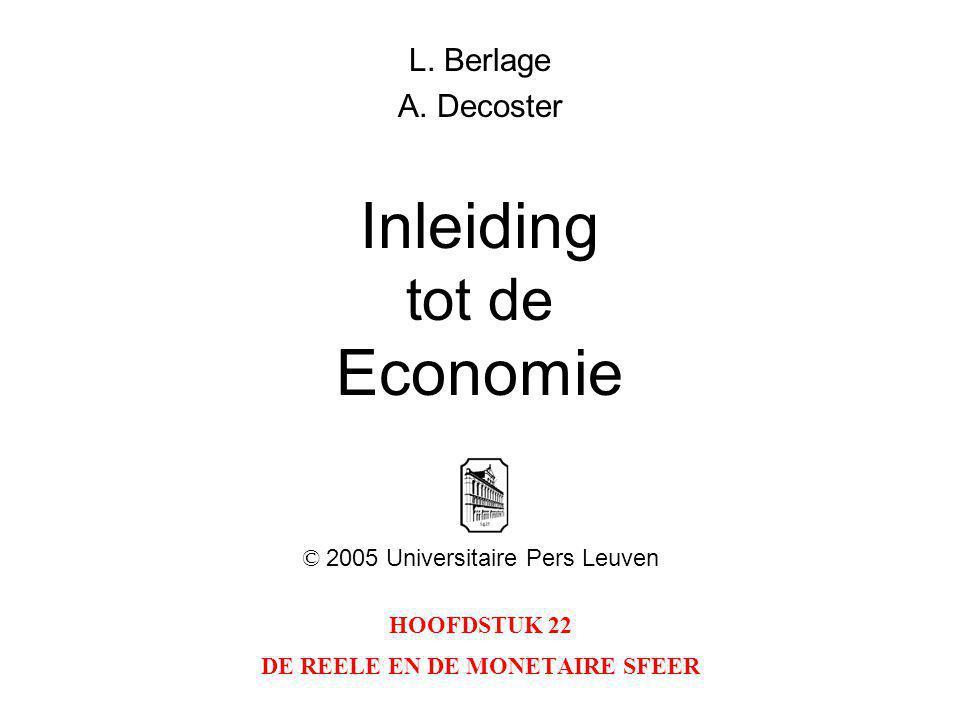 2 INLEIDING TOT DE ECONOMIEHOOFDSTUK 22: DE REELE EN DE MONETAIRE SFEER © 2005 UNIVERSITAIRE PERS LEUVEN Figuur 22.1: Het evenwicht op de geldmarkt (a) en de investeringscurve (b); de effecten van een toename van de investeringen