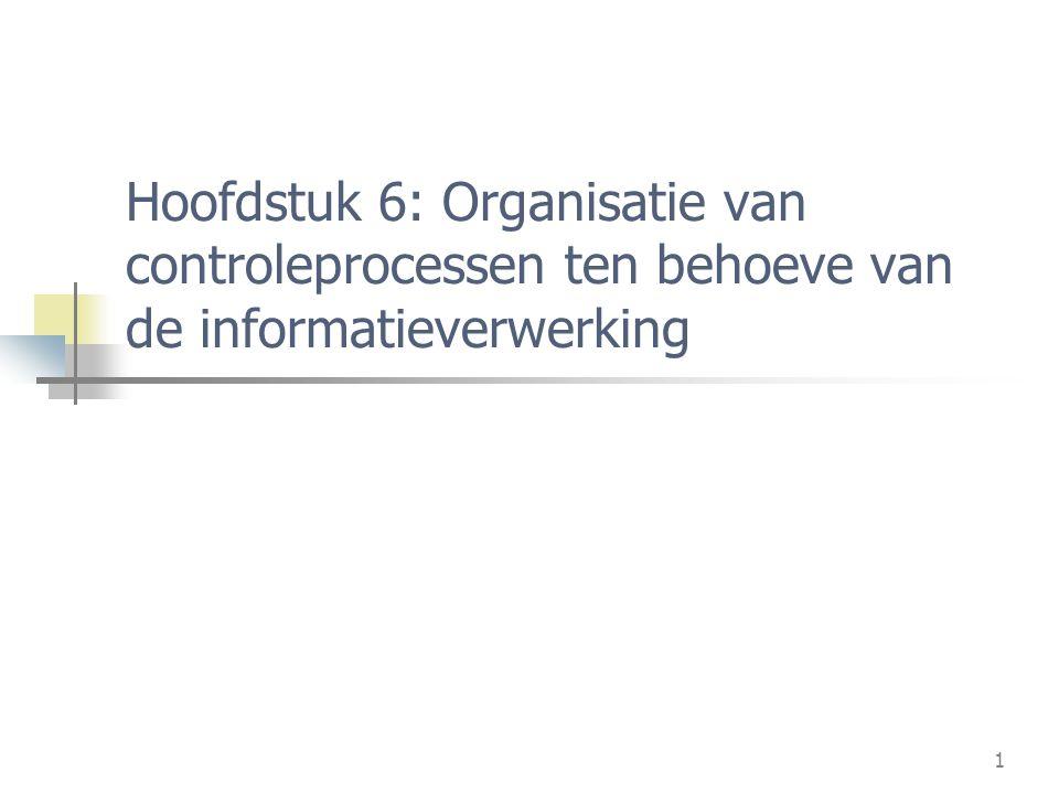 1 Hoofdstuk 6: Organisatie van controleprocessen ten behoeve van de informatieverwerking