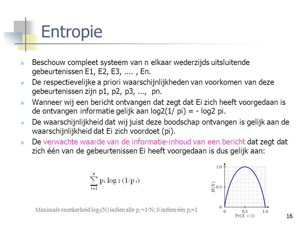 16 Entropie Beschouw compleet systeem van n elkaar wederzijds uitsluitende gebeurtenissen E1, E2, E3,...., En. De respectievelijke a priori waarschijn