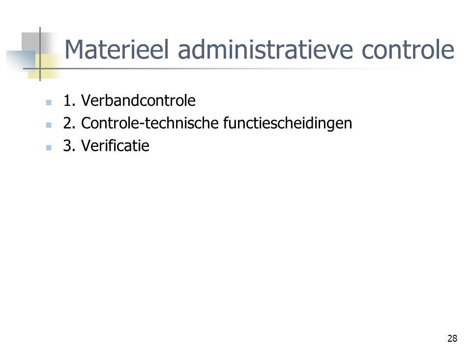 28 Materieel administratieve controle 1. Verbandcontrole 2. Controle-technische functiescheidingen 3. Verificatie