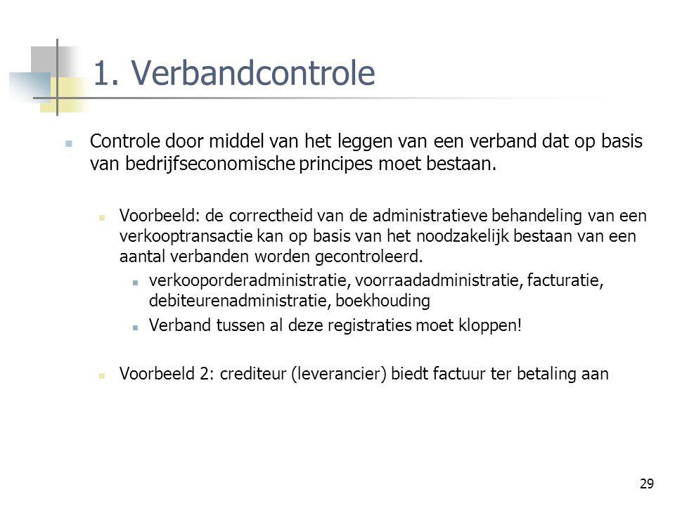 29 1. Verbandcontrole Controle door middel van het leggen van een verband dat op basis van bedrijfseconomische principes moet bestaan. Voorbeeld: de c