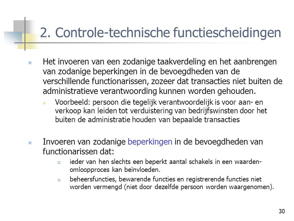 30 2. Controle-technische functiescheidingen Het invoeren van een zodanige taakverdeling en het aanbrengen van zodanige beperkingen in de bevoegdheden