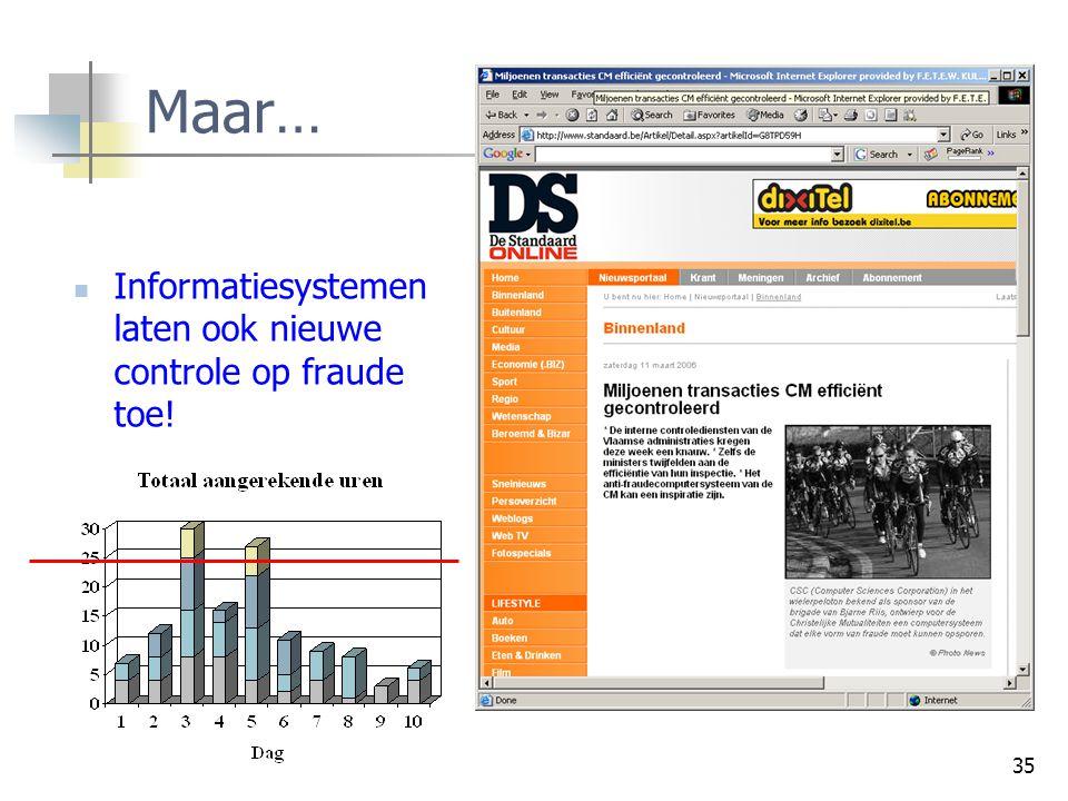 35 Maar… Informatiesystemen laten ook nieuwe controle op fraude toe!