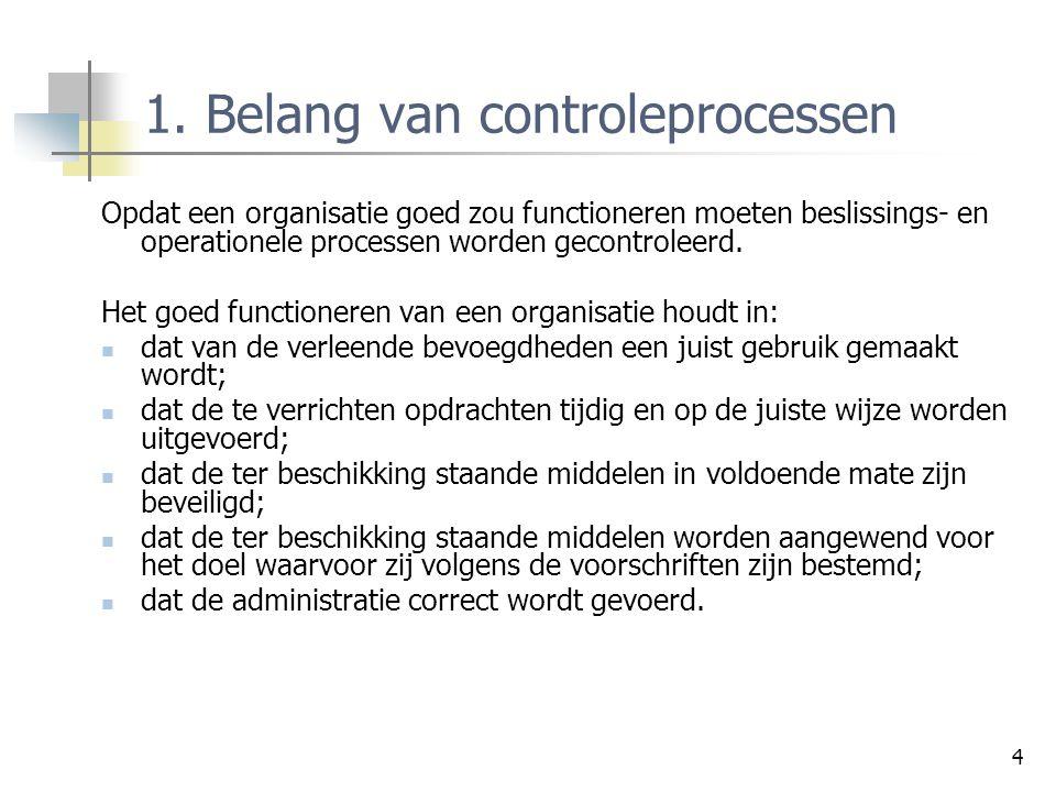 4 1. Belang van controleprocessen Opdat een organisatie goed zou functioneren moeten beslissings- en operationele processen worden gecontroleerd. Het
