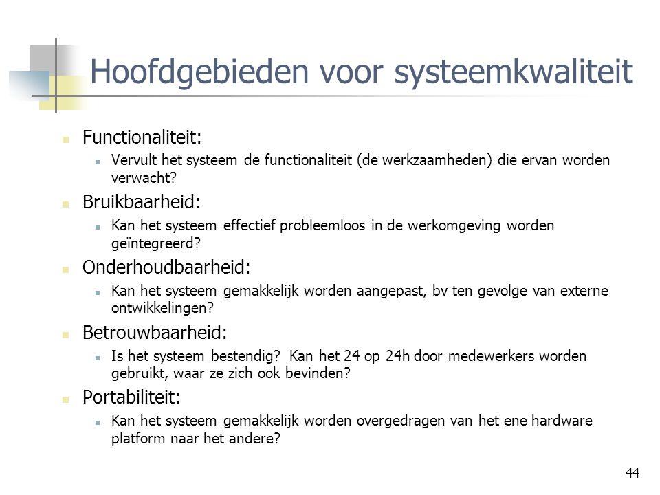 44 Hoofdgebieden voor systeemkwaliteit Functionaliteit: Vervult het systeem de functionaliteit (de werkzaamheden) die ervan worden verwacht? Bruikbaar