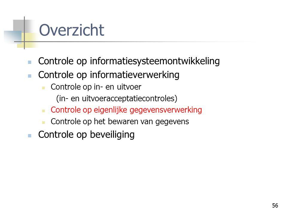 56 Overzicht Controle op informatiesysteemontwikkeling Controle op informatieverwerking Controle op in- en uitvoer (in- en uitvoeracceptatiecontroles)