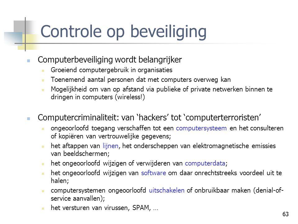 63 Controle op beveiliging Computerbeveiliging wordt belangrijker Groeiend computergebruik in organisaties Toenemend aantal personen dat met computers