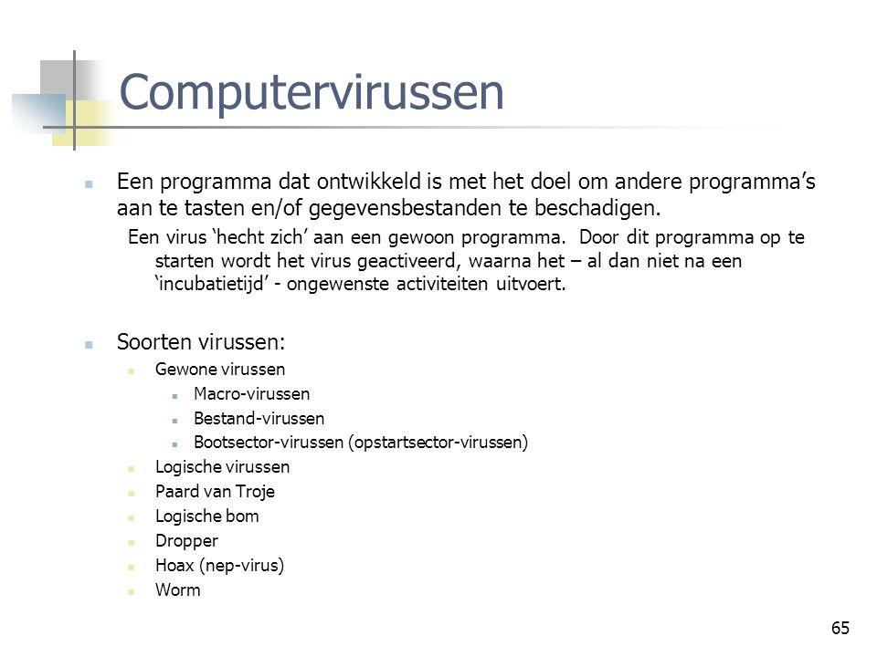 65 Computervirussen Een programma dat ontwikkeld is met het doel om andere programma's aan te tasten en/of gegevensbestanden te beschadigen. Een virus
