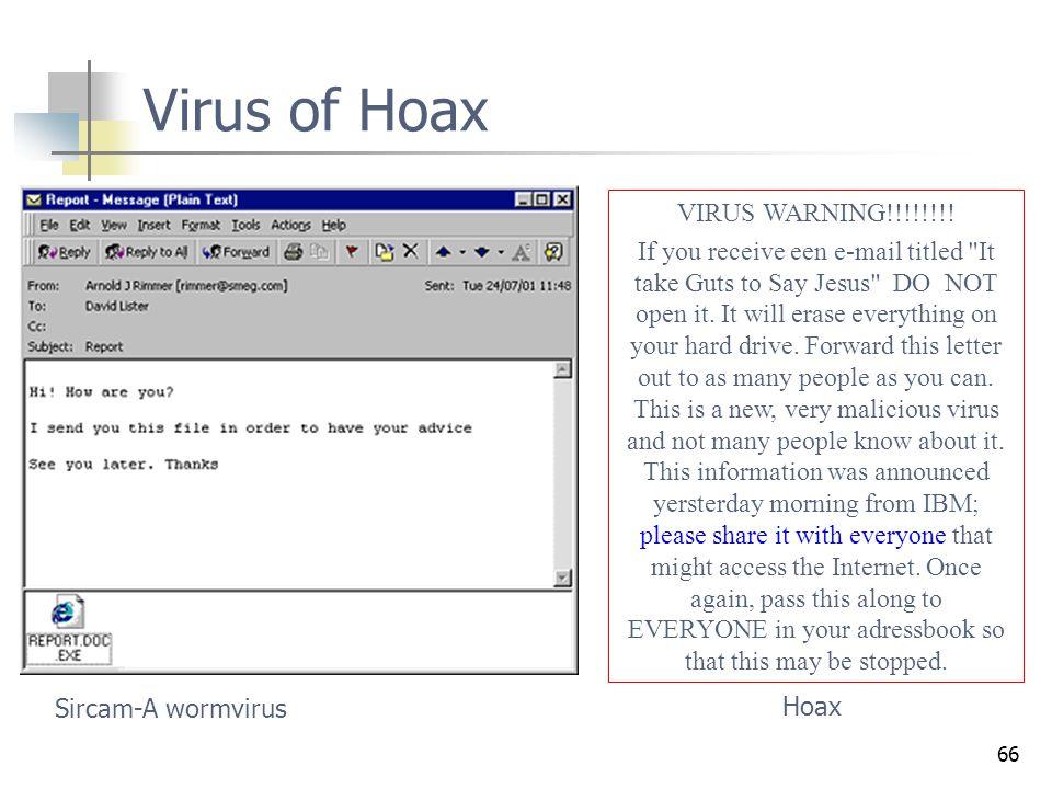 66 Virus of Hoax Sircam-A wormvirus VIRUS WARNING!!!!!!!! If you receive een e-mail titled