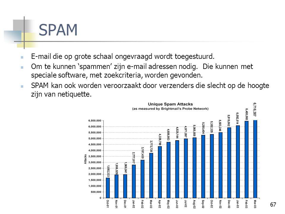 67 SPAM E-mail die op grote schaal ongevraagd wordt toegestuurd. Om te kunnen 'spammen' zijn e-mail adressen nodig. Die kunnen met speciale software,