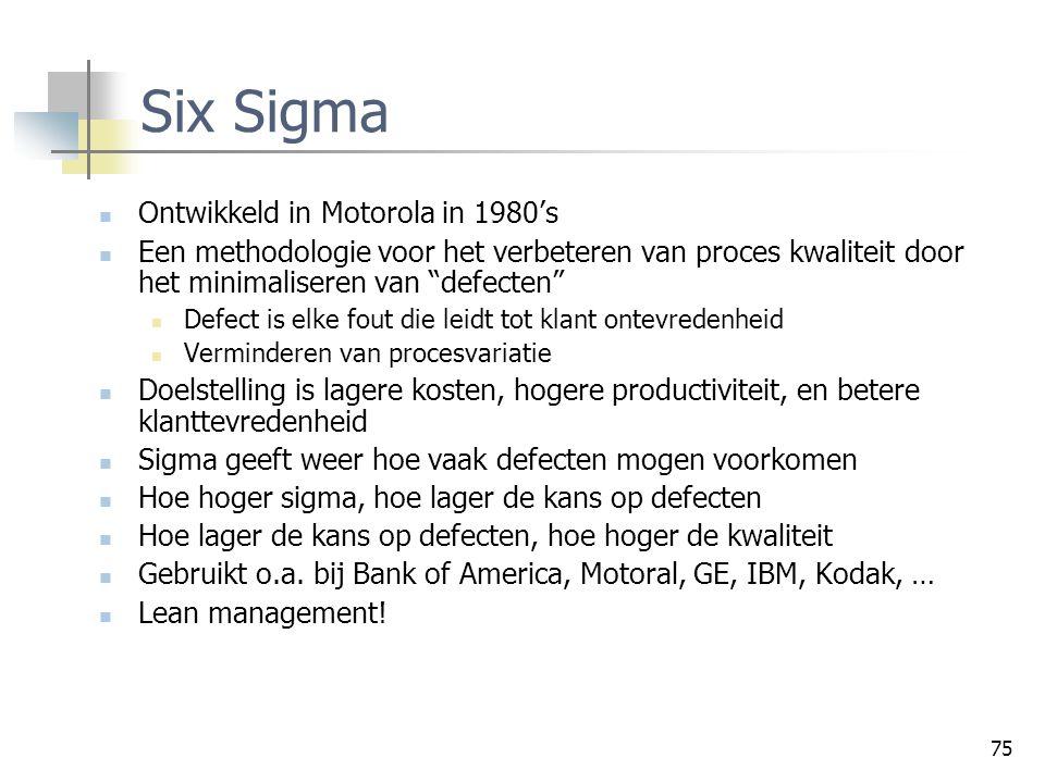 """75 Six Sigma Ontwikkeld in Motorola in 1980's Een methodologie voor het verbeteren van proces kwaliteit door het minimaliseren van """"defecten"""" Defect i"""