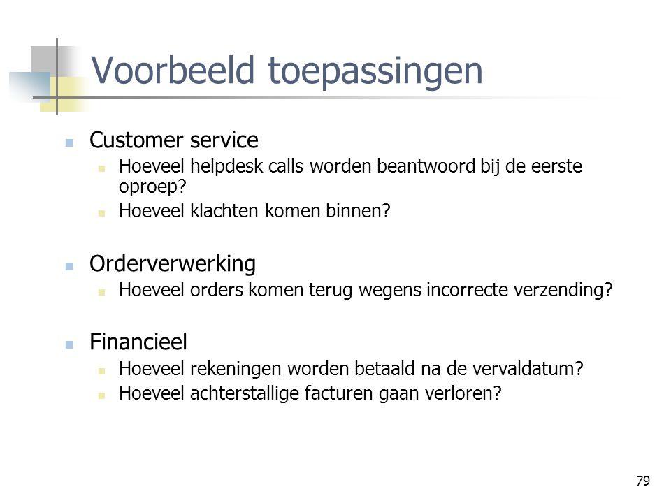 79 Voorbeeld toepassingen Customer service Hoeveel helpdesk calls worden beantwoord bij de eerste oproep? Hoeveel klachten komen binnen? Orderverwerki