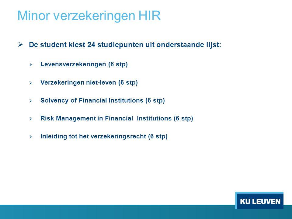  De student kiest 24 studiepunten uit onderstaande lijst:  Levensverzekeringen (6 stp)  Verzekeringen niet-leven (6 stp)  Solvency of Financial In