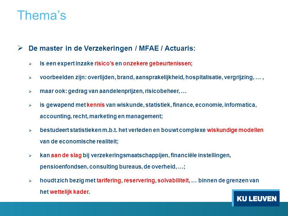  De master in de Verzekeringen / MFAE / Actuaris:  Is een expert inzake risico's en onzekere gebeurtenissen;  voorbeelden zijn: overlijden, brand,