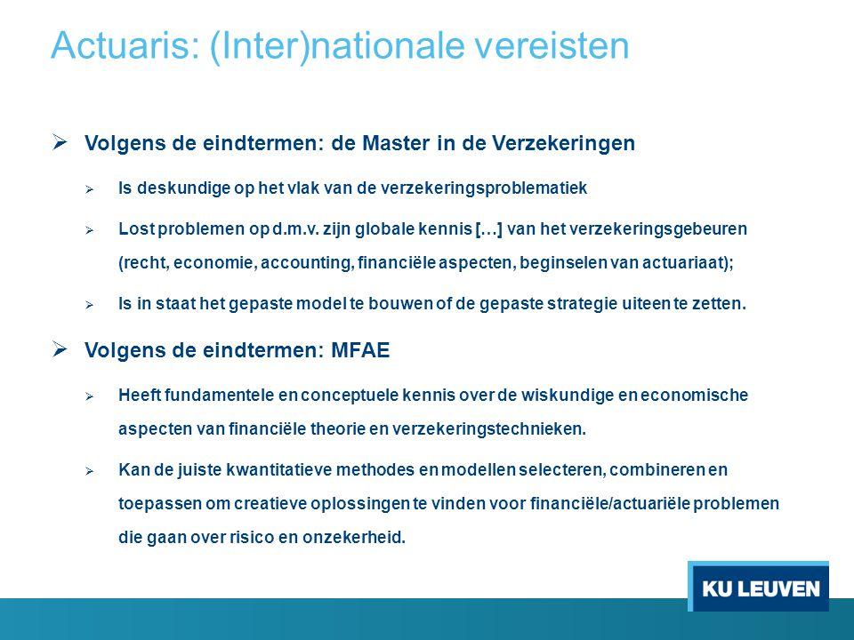  Volgens de eindtermen: de Master in de Verzekeringen  Is deskundige op het vlak van de verzekeringsproblematiek  Lost problemen op d.m.v. zijn glo