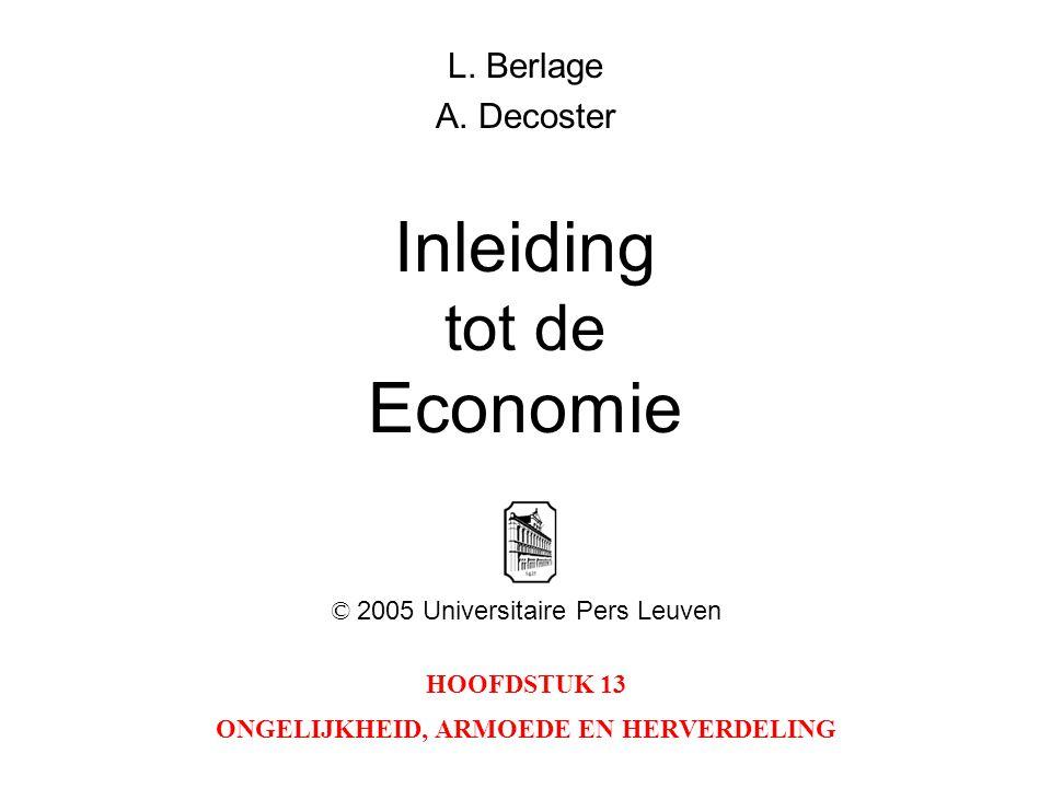 HOOFDSTUK 13 ONGELIJKHEID, ARMOEDE EN HERVERDELING L. Berlage A. Decoster Inleiding tot de Economie © 2005 Universitaire Pers Leuven