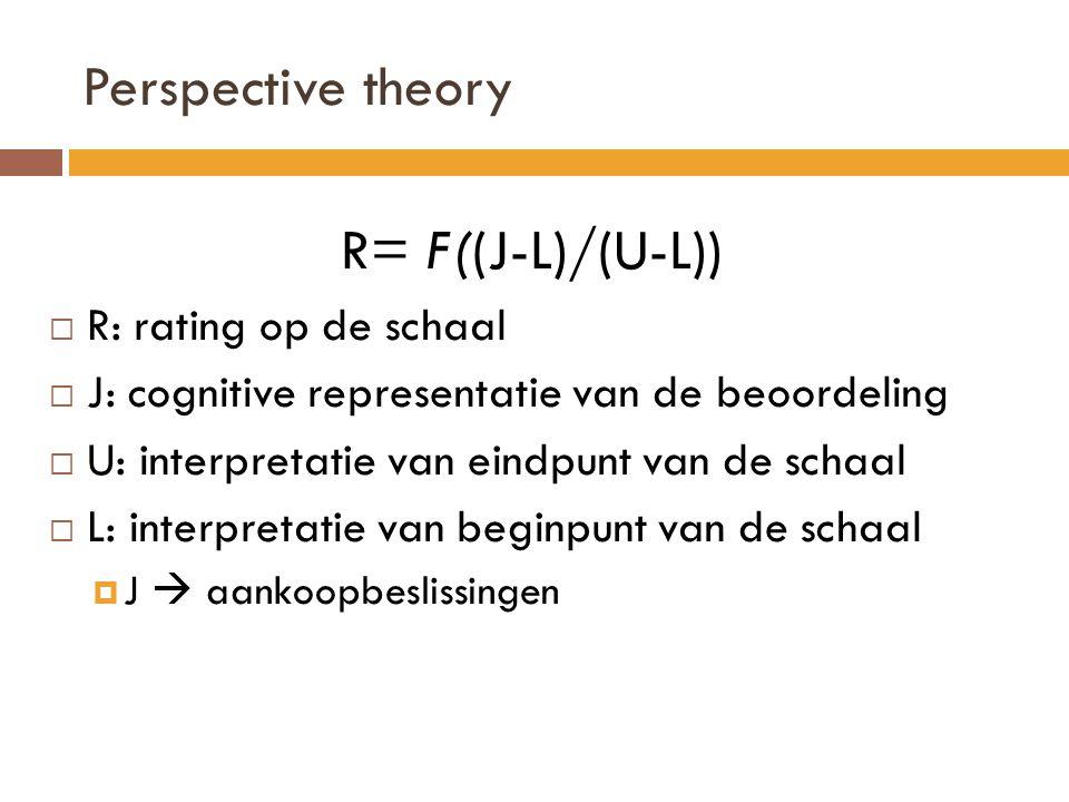 Perspective theory R= F((J-L)/(U-L))  R: rating op de schaal  J: cognitive representatie van de beoordeling  U: interpretatie van eindpunt van de schaal  L: interpretatie van beginpunt van de schaal  J  aankoopbeslissingen