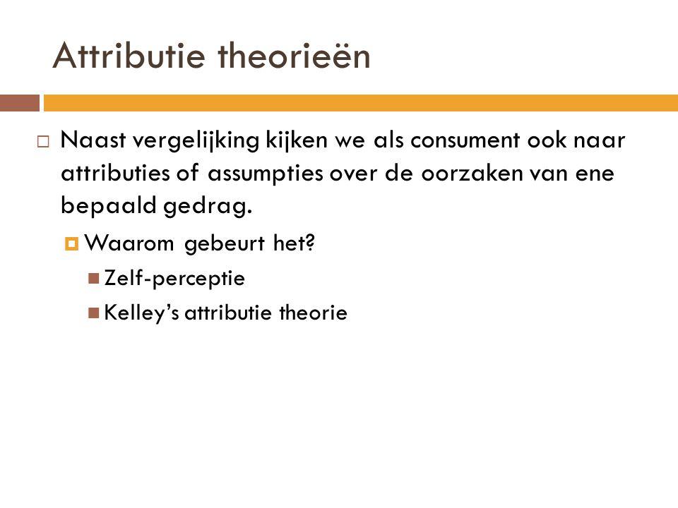 Attributie theorieën  Naast vergelijking kijken we als consument ook naar attributies of assumpties over de oorzaken van ene bepaald gedrag.