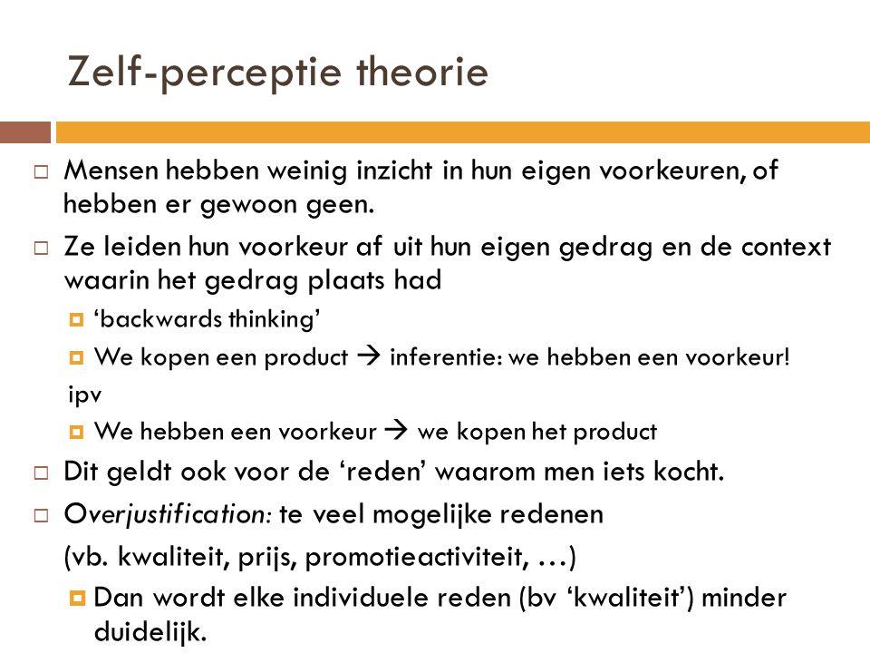 Zelf-perceptie theorie  Mensen hebben weinig inzicht in hun eigen voorkeuren, of hebben er gewoon geen.